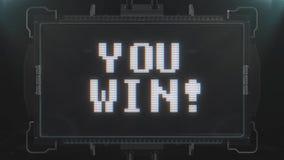 Αναδρομικό videogame εσείς κερδίζει το κείμενο στο φουτουριστικό άνευ ραφής βρόχο ζωτικότητας οθόνης παρέμβασης δυσλειτουργίας TV απόθεμα βίντεο