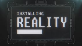Αναδρομικό videogame κείμενο πραγματικότητας στο φουτουριστικό άνευ ραφής βρόχο ζωτικότητας οθόνης παρέμβασης δυσλειτουργίας TV Ν απεικόνιση αποθεμάτων