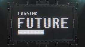 Αναδρομικό videogame μελλοντικό κείμενο φόρτωσης στο φουτουριστικό άνευ ραφής βρόχο ζωτικότητας οθόνης παρέμβασης δυσλειτουργίας  απεικόνιση αποθεμάτων
