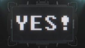 Αναδρομικό videogame ΝΑΙ κείμενο λέξης στο φουτουριστικό άνευ ραφής βρόχο ζωτικότητας οθόνης παρέμβασης δυσλειτουργίας TV Νέα ποι διανυσματική απεικόνιση