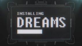 Αναδρομικό videogame που εγκαθιστά το κείμενο ονείρων στο φουτουριστικό άνευ ραφής βρόχο ζωτικότητας οθόνης παρέμβασης δυσλειτουρ απεικόνιση αποθεμάτων