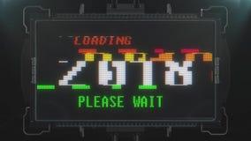 Αναδρομικό videogame που φορτώνει το κείμενο του 2018 στο φουτουριστικό άνευ ραφής βρόχο ζωτικότητας οθόνης παρέμβασης δυσλειτουρ διανυσματική απεικόνιση