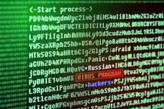 Αναζήτηση μιας υπογραφής ιών στον κώδικα προγράμματος Ρωσικός χάκερ Στοκ Εικόνα