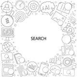 Αναζήτηση σχετική από το εικονίδιο γραμμών γραμμικό διανυσματικό σχέδιο στοκ εικόνα με δικαίωμα ελεύθερης χρήσης