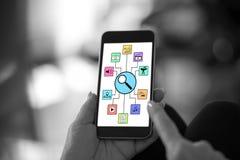 Αναζήτηση της έννοιας apps σε ένα smartphone Στοκ εικόνες με δικαίωμα ελεύθερης χρήσης