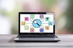 Αναζήτηση της έννοιας apps σε μια οθόνη lap-top Στοκ Εικόνα