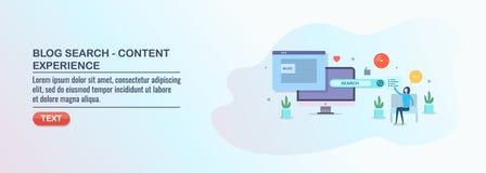 Αναζήτηση Blog, ικανοποιημένη εμπειρία, βελτιστοποίηση seo, ψηφιακό μάρκετινγκ μέσων διανυσματική απεικόνιση