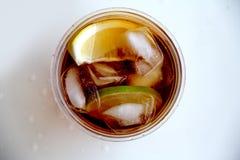 Αναζωογονώντας τσάι πάγου με τη φέτα κανέλας και μήλων σε ένα πλαστικό φλυτζάνι Στοκ εικόνες με δικαίωμα ελεύθερης χρήσης