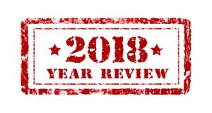 Αναθεώρηση του έτους 2018, γραμματόσημο σε ένα λευκό επίσης corel σύρετε το διάνυσμα απεικόνισης r απεικόνιση αποθεμάτων