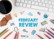 Αναθεώρηση Φεβρουαρίου, επιχειρησιακή έννοια λευκό Ιστού γραφείων γραφείων επιχειρηματιών περιοδείας Στοκ Εικόνα