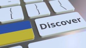 ΑΝΑΚΑΛΥΨΤΕ το κείμενο και τη σημαία της Ουκρανίας στα κουμπιά στο πληκτρολόγιο υπολογιστών Εννοιολογική τρισδιάστατη ζωτικότητα απόθεμα βίντεο