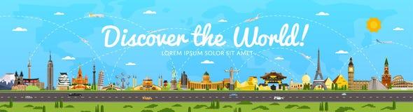 Ανακαλύψτε την παγκόσμια αφίσα με τη διάσημη έλξη Στοκ Εικόνες