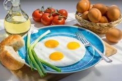 Ανακατωμένα αυγά και συστατικά Στοκ Φωτογραφίες