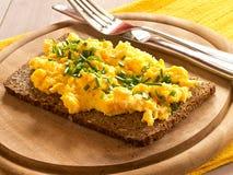Ανακατωμένα αυγά με τα φρέσκα κρεμμύδια Στοκ εικόνα με δικαίωμα ελεύθερης χρήσης