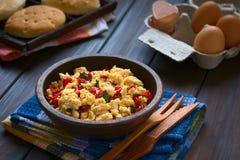 Ανακατωμένα αυγά με το κόκκινο πιπέρι κουδουνιών και τα πράσινα κρεμμύδια Στοκ Φωτογραφίες