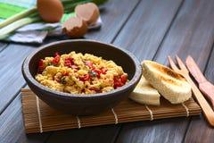 Ανακατωμένα αυγά με το κόκκινο πιπέρι κουδουνιών Στοκ Εικόνες