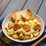 Ανακατωμένα αυγά με Chorizo Στοκ φωτογραφίες με δικαίωμα ελεύθερης χρήσης