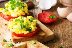 Ανακατωμένα αυγά σε δύο κομμάτια της φρυγανιάς με το πράσινο κρεμμύδι και tomat Στοκ εικόνα με δικαίωμα ελεύθερης χρήσης