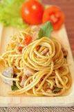 Ανακατώνω-τηγανισμένα πικάντικα μακαρόνια με το κοτόπουλο ύφος Ταϊλανδός στοκ εικόνες με δικαίωμα ελεύθερης χρήσης
