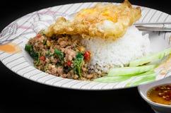 Ανακατώνω-τηγανισμένοι χοιρινό κρέας και βασιλικός Στοκ Φωτογραφία