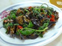 Ανακατώνω-τηγανισμένος ωκεανός escargot στο πιάτο Στοκ φωτογραφία με δικαίωμα ελεύθερης χρήσης
