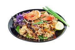 Ανακατώστε την τηγανισμένη γραμμή γυαλιού φυκιών με τις γαρίδες (μαξιλάρι Ταϊλανδός) Στοκ Εικόνες