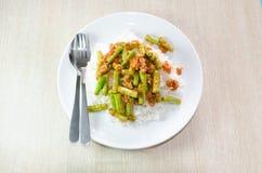 Ανακατώστε την τηγανισμένη κόλλα χοιρινού κρέατος και κάρρυ Στοκ φωτογραφίες με δικαίωμα ελεύθερης χρήσης