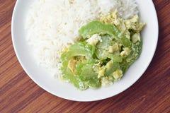 Ανακατώστε την τηγανισμένη πικρή κολοκύθα με το αυγό στο ρύζι Στοκ φωτογραφία με δικαίωμα ελεύθερης χρήσης