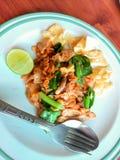 Ανακατώστε το τηγανισμένα επίπεδα νουντλς και το χοιρινό κρέας Στοκ Εικόνες