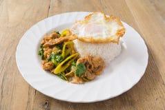 Ανακατώστε το τηγανισμένο κοτόπουλο με το φύλλο βασιλικού εξυπηρετεί Στοκ Εικόνες