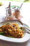 Ανακατώστε το τηγανισμένο νουντλς κοτόπουλου Στοκ Φωτογραφία
