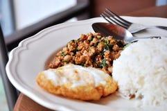 Ανακατώστε το χοιρινό κρέας βασιλικού με το ρύζι Στοκ εικόνα με δικαίωμα ελεύθερης χρήσης