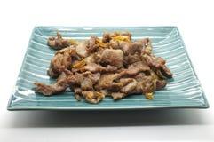 Ανακατώστε το χοιρινό κρέας τηγανητών με το σκόρδο και το πιπέρι Στοκ φωτογραφία με δικαίωμα ελεύθερης χρήσης