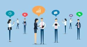 Ανακοίνωση επιχειρηματιών σχετικά με την κοινωνική έννοια δικτύων διανυσματική απεικόνιση