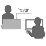 Ανακοίνωση μεταξύ των ανθρώπων σχετικά με το διαδίκτυο επίσης corel σύρετε το διάνυσμα απεικόνισης Στοκ φωτογραφία με δικαίωμα ελεύθερης χρήσης