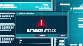 19 Ανακοίνωση προειδοποίησης επίθεσης βάσεων δεδομένων στην ψηφιακή ασφάλεια άγρυπνη στην οθόνη απεικόνιση αποθεμάτων