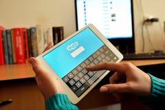 Ανακοίνωση Skype σχετικά με την ταμπλέτα Ipad Στοκ Εικόνα