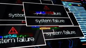 Ανακοινώσεις προειδοποίησης αποτυχίας προγράμματος παντού η οθόνη, άγρυπνη έννοια ασφάλειας ζωτικότητας Παρουσίαση οργάνων ελέγχο ελεύθερη απεικόνιση δικαιώματος