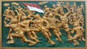 Ανακούφιση στο μεγάλο πατριωτικό πόλεμο Ινδονήσιος στοκ εικόνες