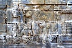 Ανακούφιση στο ναό Borobudur, Ινδονησία Στοκ φωτογραφίες με δικαίωμα ελεύθερης χρήσης