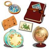 Ανακριτής ναυτικών στο εκλεκτής ποιότητας ύφος Σφαίρα, ημερολόγιο, χάρτης, βαλίτσα γυναικείου ταξιδιού, πυξίδα Σύνολο ταξιδιωτικώ διανυσματική απεικόνιση