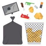 Ανακυκλώνοντας τα διανυσματικά απορρίματα βιομηχανίας διοικητικής οικολογίας ροδών τσαντών απορριμμάτων απορριμάτων χρησιμοποιήστ απεικόνιση αποθεμάτων