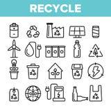 Ανακυκλώστε, απορρίματα που ταξινομούν τα διανυσματικά γραμμικά εικονίδια καθορισμένα ελεύθερη απεικόνιση δικαιώματος
