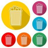 Ανακυκλώστε τα απορρίμματα δοχείων και το εικονίδιο απορριμάτων, εικονίδιο χρώματος με τη μακριά σκιά Στοκ φωτογραφίες με δικαίωμα ελεύθερης χρήσης