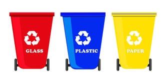 Ανακυκλώστε τα δοχεία καθορισμένα διανυσματικά διανυσματική απεικόνιση