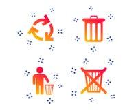 Ανακυκλώστε τα εικονίδια δοχείων Η επαναχρησιμοποίηση ή μειώνει το σύμβολο r διανυσματική απεικόνιση