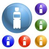 Ανακυκλώστε τα πλαστικά εικονίδια μπουκαλιών καθορισμένα διανυσματικά απεικόνιση αποθεμάτων