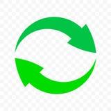 Ανακυκλώστε το εικονίδιο κύκλων βελών Διανυσματικό σημάδι δοχείων αποβλήτων eco, οργανική επαναχρησιμοποίηση και ανακύκλωσης βιο  διανυσματική απεικόνιση