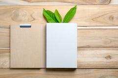 Ανακυκλωμένη συσκευασία βιβλίων εγγράφου με το πράσινο φύλλο στον ξύλινο πίνακα για Στοκ φωτογραφία με δικαίωμα ελεύθερης χρήσης