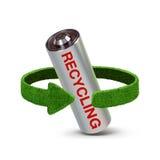 Ανακυκλώνοντας μπαταρίες και συσσωρευτές Έννοια με τα πράσινα βέλη από τη χλόη Έννοια ανακύκλωσης Στοκ Εικόνες